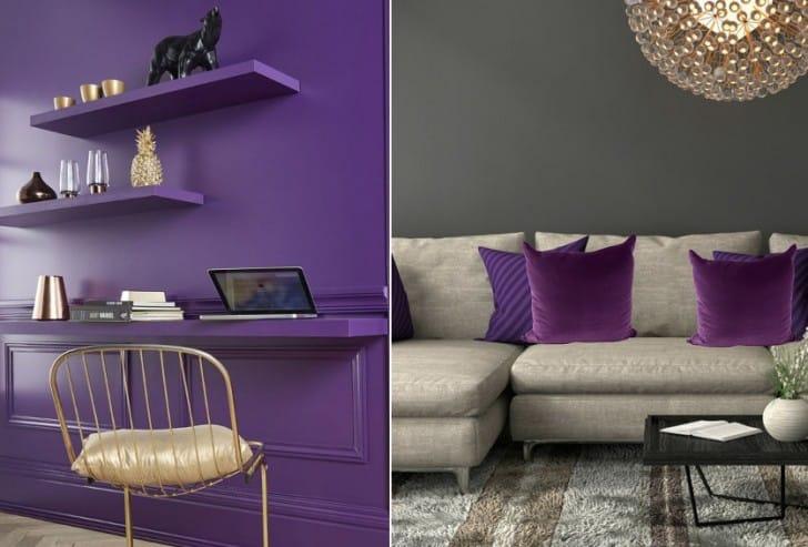 Paredes y almohadones violetas