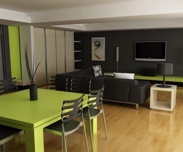 Diseño interior negro y verde