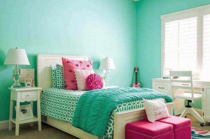 Dormitorio niña verde menta