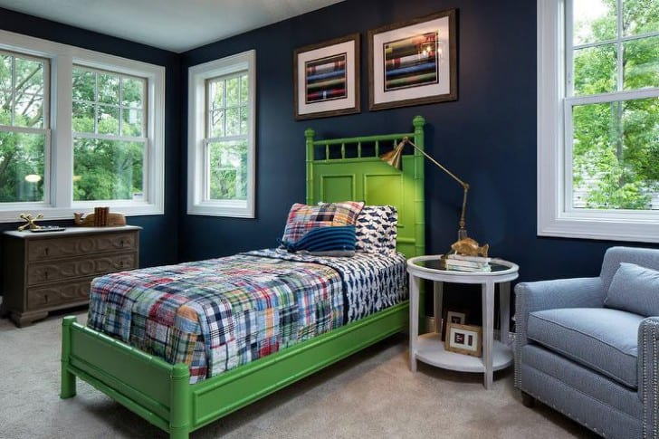 Dormitorio paredes azules