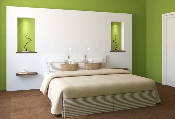 Dormitorio verde y blanco