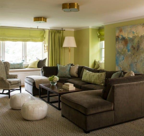 Living verde sofás marrones
