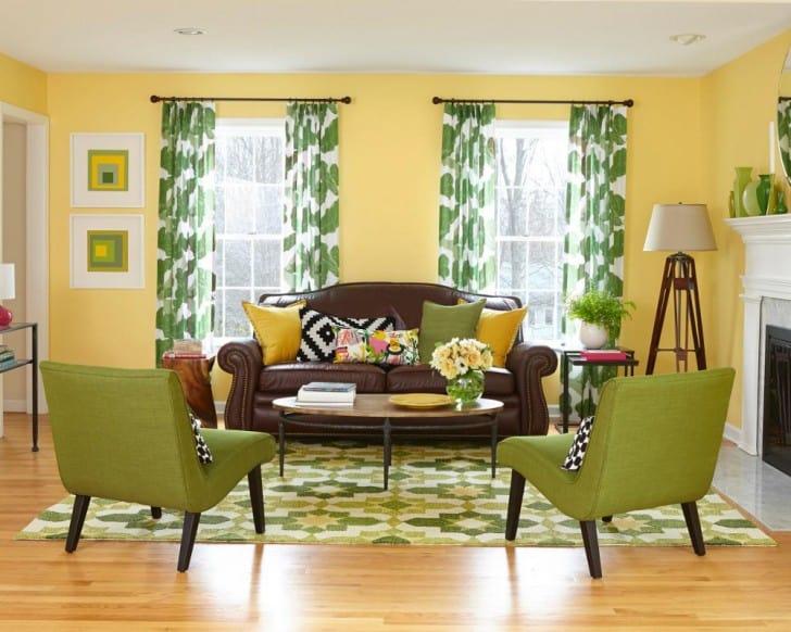 Sala amarilla y verde