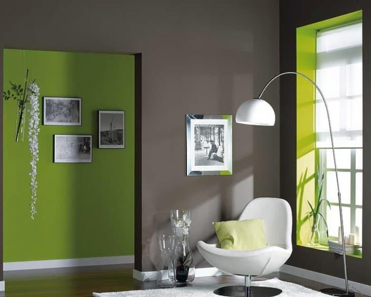 Interior decoración verde y gris
