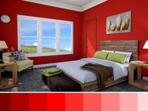 Variantes de color rojo para paredes en interiores