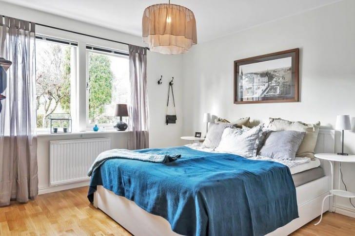 Dormitorio blanco azul