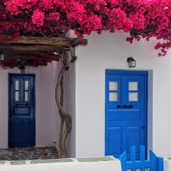 Puerta exterior azul