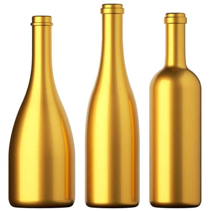 Botellas doradas pintadas
