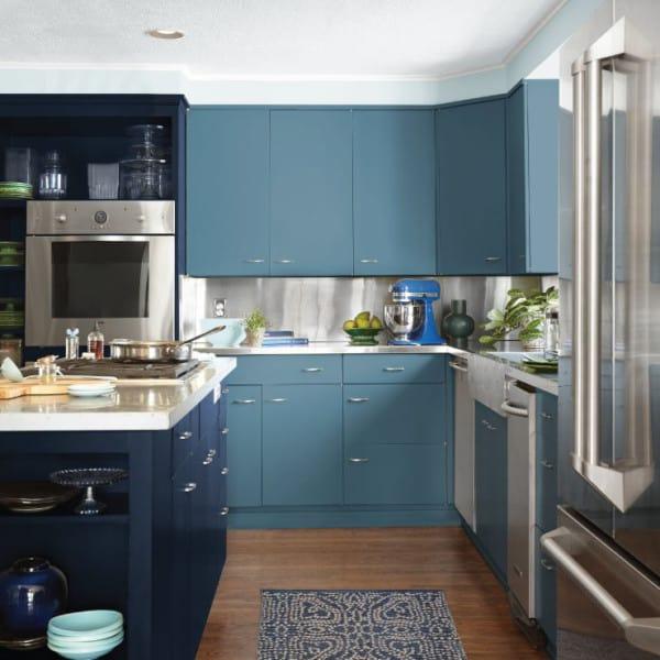 Muebles de la cocina azules