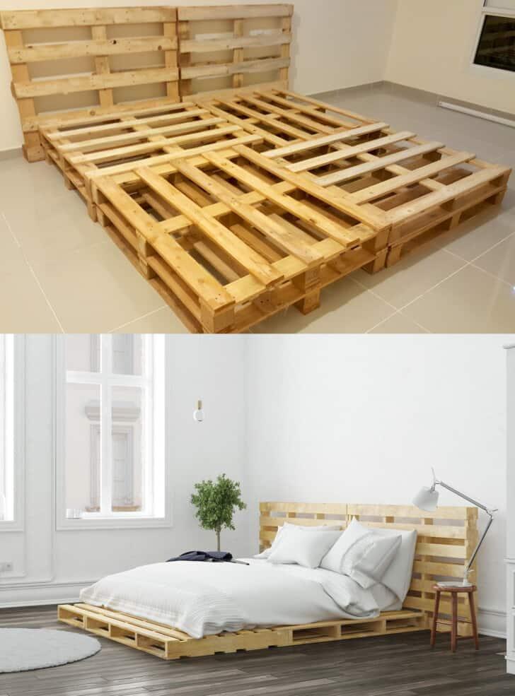 Dos diseños de cama de madera de palets
