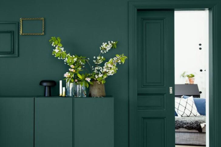 Puerta y pared mismo color verde oscuro