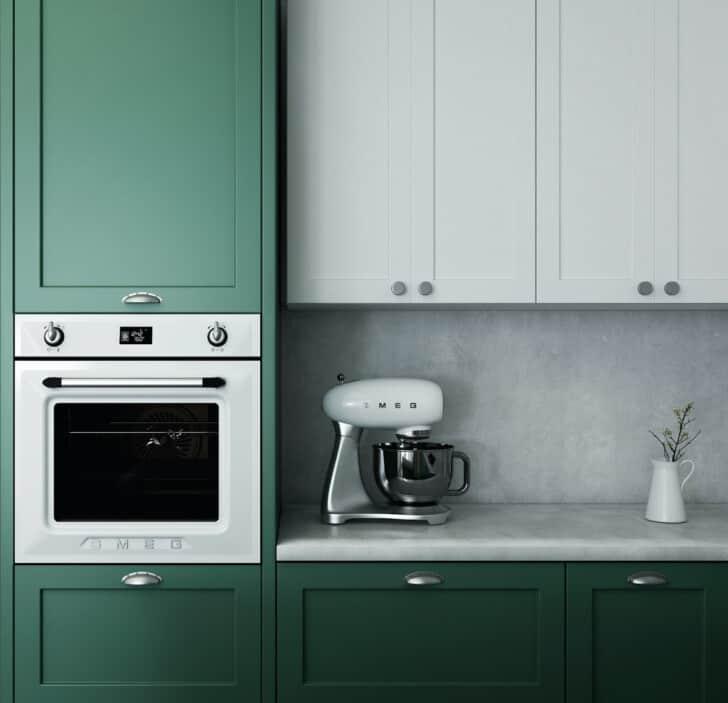 Melamina pintada de color verde en la cocina